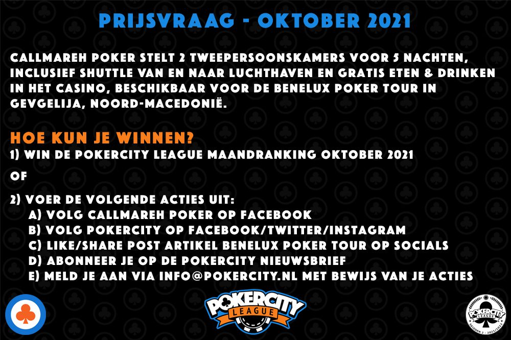 PokerCity League Prijsvraag - Callmareh Poker - Benelux Poker Tour